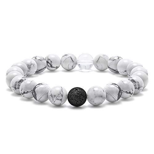 - Quartzite Bead Bracelet for Women - 8mm Natural White Howlite Black Lava RockBeads Bracelet, Stress Relief Yoga Beads Elastic Bracelet Energy Stone Quartzite Beads Women Mens Bracelet Gifts for Her