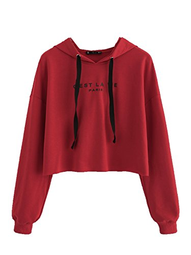 (SweatyRocks Women's Letter Print Long Sleeve Crop Top Sweatshirt Hoodies (Small, Red_Letter))