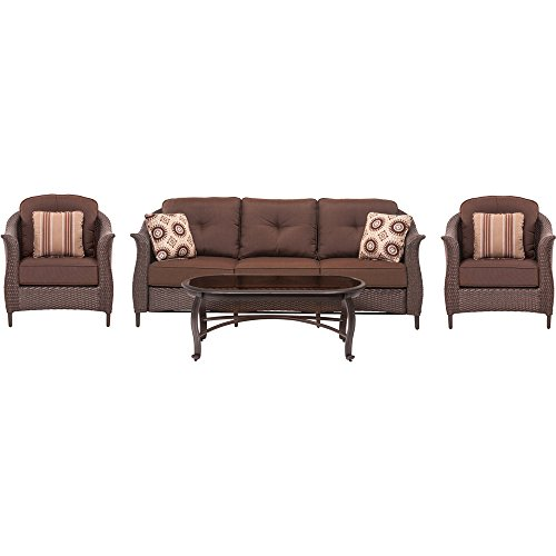 Hanover GRAMERCY4PC-BRN Gramercy 4 Piece Wicker Patio Seating Set, Sunbrella Brown by Hanover