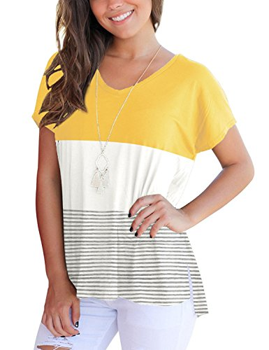 SunAislin Women's Casual Short Sleeve T Shirt Triple Color Block Stripe Top Blouse Yellow L