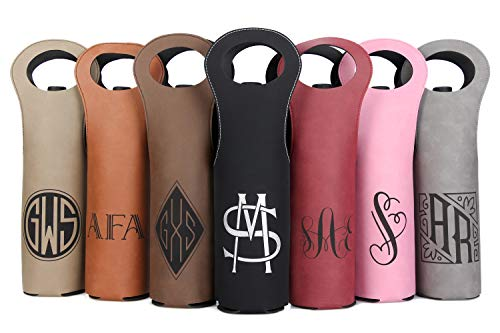 (Personalized Wine Bag - Custom Engraved Faux Leather Wine Bottle Carrier - Personalized Wine Gift (7 Designs, 7)