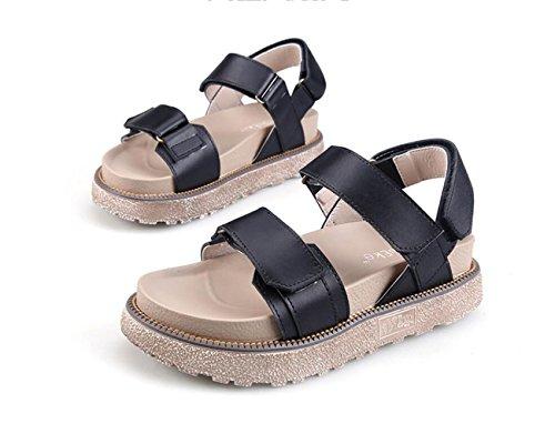 Chaussures Femmes Vent Confortable Sandales Chaussures Épaisses Été 34 Chaussures 43 Britannique Velcro Black Taille Étudiant DANDANJIE Grande Taille ORBwqpd4q
