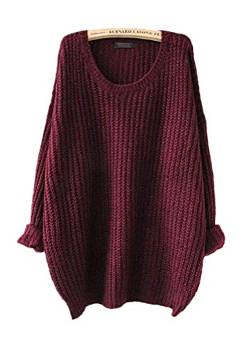 ARJOSA Women's Cable Knit Oversized Crewneck Casual Pullovers Sweaters Tops (M/L, 1 Wine Red)