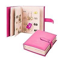 Glamorway Folding Jewelry Display Earrings Ear Studs Holder Organizer Storage Book Design PU Leather Jewelry Tray Pink