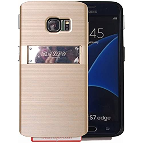 [Shockproof] Credit Card Case [Dual Layer] Protective Hybrid Case [Kickstand] with One Card Slot Wallet For Galaxy S7 Edge (Bumper - Gold) Sales