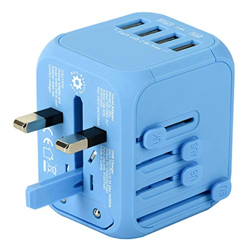 Upgraded Universal Travel Adapter, Castries All-in-one Worldwide Travel Charger Travel Socket, International Power Adapter with 4 USB Ports, AC Plug for US EU UK AU & Asian Countries, Travel Accessory