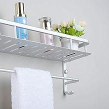 Modern Aluminum Double Layers Towel Bar Wall Mount Bathroom Storage and One Towel Bar Bathroom Shelves with 2 Hooks Towel Holders Bath Towel Rack Bath/Kitchen Storage Shelf (40cm /15.7in)