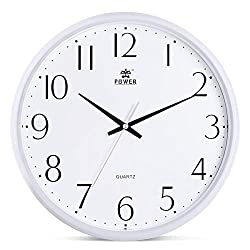 POWER 13-Inch Round Non-Ticking Silent Wall Clock Decorative, Battery Operated Quartz Analog Quiet Wall Clock, for Living Room, Kitchen, Bedroom (White)