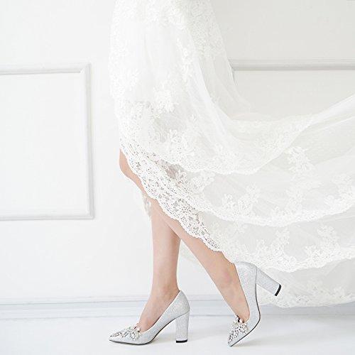 Damen 34 Heels Schuhe 9CM Spitzen Bankett Strass MUYII Damen SilverB Schuhe Braut Hochzeit Rough Silber 6qP0dg