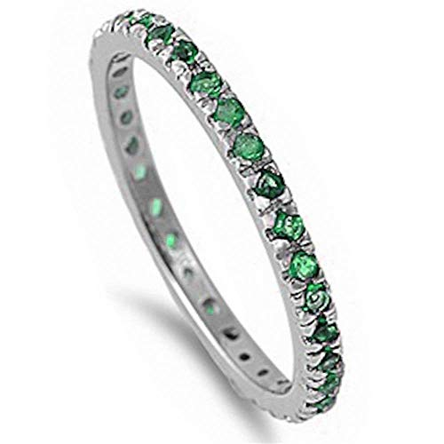 Sterling Silver Stackable Green Emerald Cubic Zirconia Eternity Band Ring (Size 2-12)