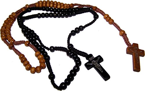 Tan Velvet Cord - Two Rosaries with Velvet bags : Black, Tan or light brown Colored Wooden Beads Rosary Necklaces with Jesus Imprint Cross