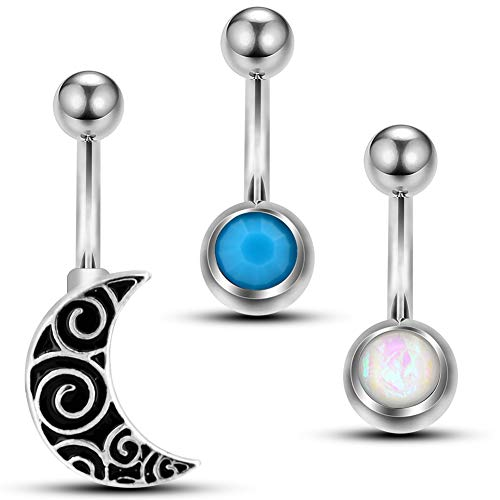 Jewseen 14g Belly Button Rings 3pcs Navel Rings with Black Enamel Moon White Opal Blue Stone Piercing