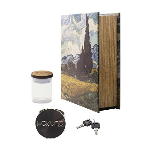 (Hakuna Supply Locking Book Storage Box Bundle - 1/8 Oz. Glass Jar w/Freshness Seal Bamboo Lid + Hakuna 4 Pc. Sharp Shredder + 2 Keys (Wheatfield))