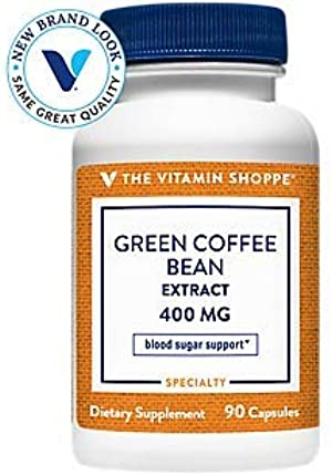 The Vitamin Shoppe Green Coffee Bean Extract 400MG (with 50 Chlorogenic Acid), Weight Management Support Glucose Metabolism, Clinically Studied Ingredient (90 Capsules)