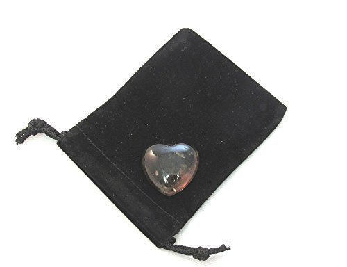 Zentron Crystal Collection: Smoky Quartz 30MM All Natural Polished Pocket Gemstone Crystal Puff Heart and Velvet Pouch