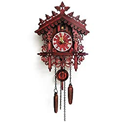 QuyWin Home Decor Fashion Style Vintage Wooden Tree House Hanging Cuckoo Wall Clock Home Bedroom Office Decor for Home Wedding Anniversary Decorations Red