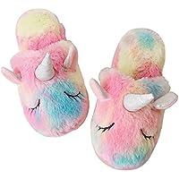 Rainbow Unicorn Slippers/Cute Fluffy Girls Slippers/Cozy Plush Indoor Outdoor Women Slippers/Best Unicorn Gifts