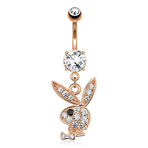 Inspiration Dezigns 14GA Multi Paved Gems on Playboy Bunny Dangle Rose Gold 316L Surgical Steel Navel Ring (Clear/Black) ()