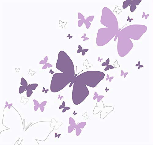 Butterfly Wall Decals- Girls Wall Stickers ~ Decorative Peel & Stick Wall Art Sticker Decals (Lilic,Lavender,White) by Create-A-Mural (Image #2)