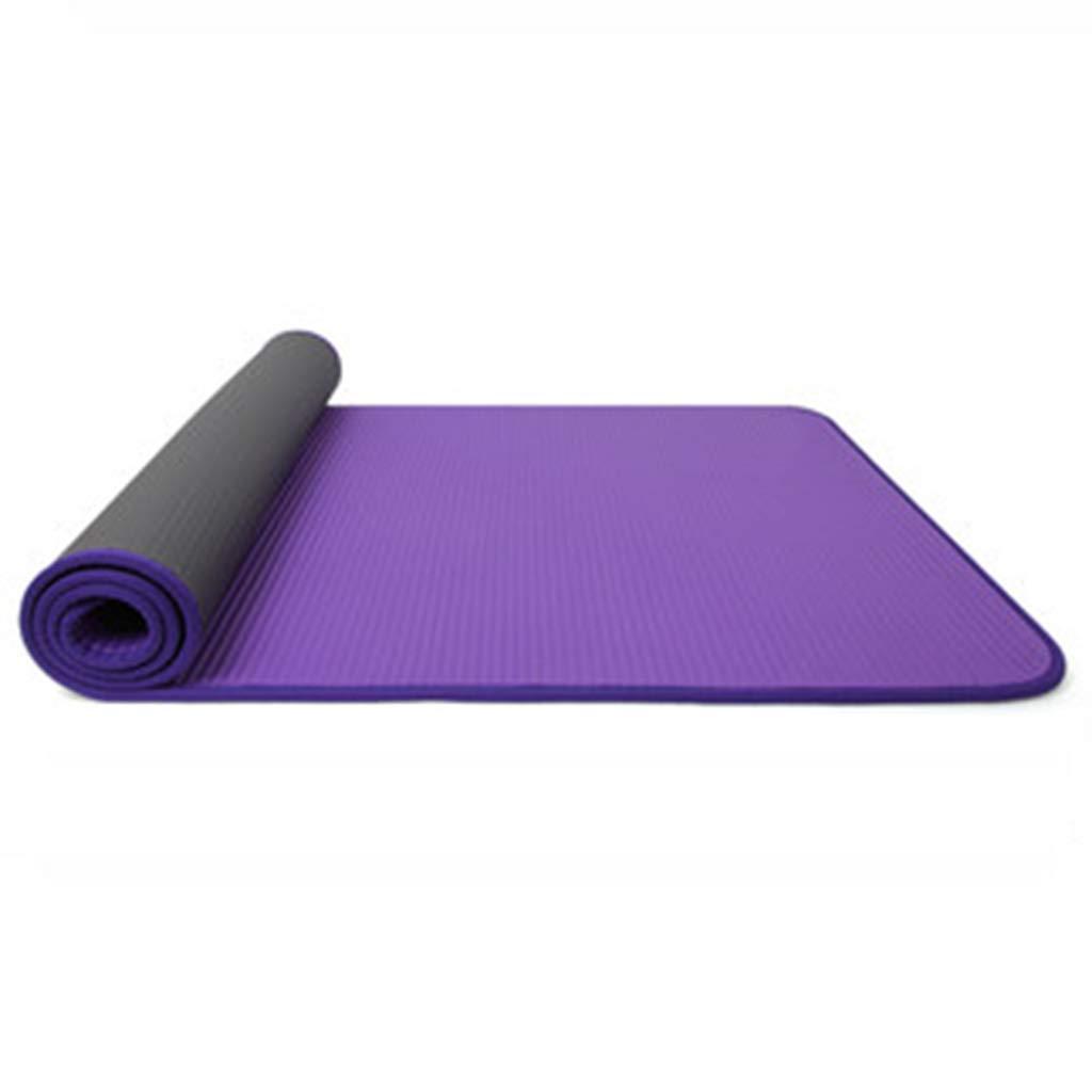 ピラティス、薄くて軽いノンスリップ非毒性の フィットネスヨガスポーツマットのキャリーハンドル付きの大きなパッド入りのヨガマット (色 : Red) B07NPNWX67 Purple Purple