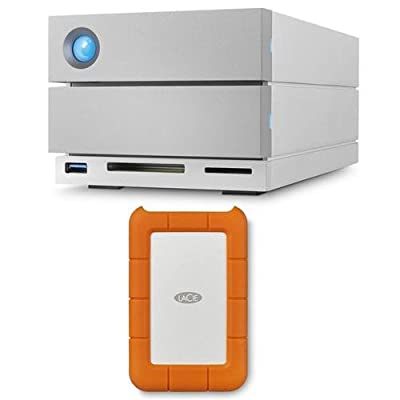 LaCie 2big Dock Thunderbolt 3 8TB (2X 4TB) Dual-Disk RAID Drive, USB 3.1 (Type C) & USB 3.0, 7200 RPM, Up to 440MB/s Speed, Bundle Rugged USB-C 3.1 2TB External Hard Drive from Lacie
