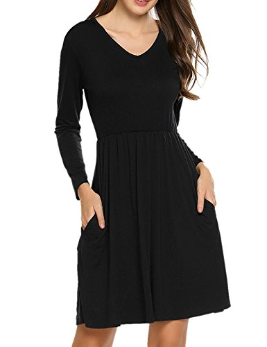 Hotouch Women's Plain Long Sleeve V-Neck Banded-Waist Skater Dress (Black, L)