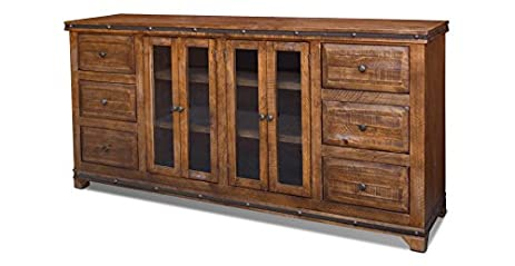 Crafters And Weavers Rustic Reclaimed Solid Wood Console Table Sideboard Tv  Credenza / Cabinet
