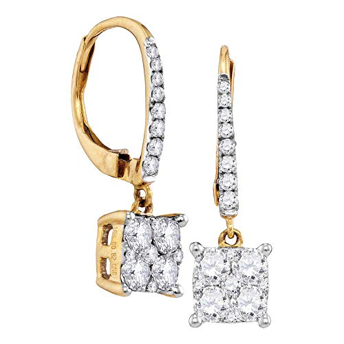 Jewels By Lux 18K Yellow Gold Round Cluster Diamond Womens Square-shape Dangle Hoop Earrings 7/8 Cttw In Pave Setting (SI3 clarity; G-H color)