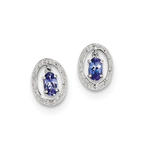 - 925 Sterling Silver Diamond Blue Tanzanite Oval Post Stud Ball Button Earrings Fine Jewelry For Women Gift Set