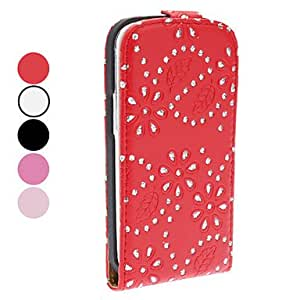 TOPAA Flower Pattern PU Leather Case with Rhinestone for Samsung Galaxy S3 I9300 (Assorted Colors) , Black