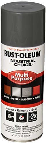 Rust-Oleum 1688830 Smoke Gray 1600 System General Purpose Enamel Spray Paint, 16 fl. oz. container, 12 oz. weight fill, Can (Pack of 6)