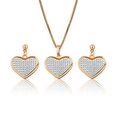 GULICX Gold Plated Base White Zircon Crystal Heart Drop Earrings Necklace Set Jewellery Party free shipping