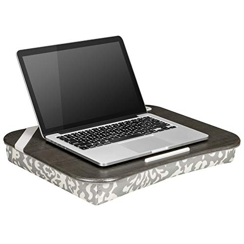 LapGear Designer Lap Desk with Phone Holder - Gray Damask - Fits up to 15.6 Inch laptops - Style No. 45524