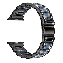 Moolia Metal Strap Band Compatible with Apple Watch Band 42mm 44mm Womens Men Rhinestones Resin Metal Wristband Bracelet Replacement for iWatch Series 5 4 3 2 1 Black + Dark Blue