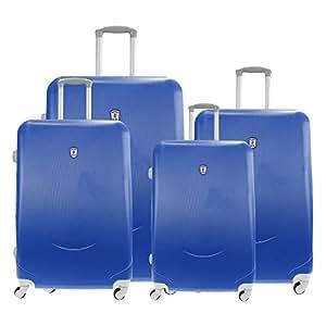 Alexander Set 4Pcs ABS Maleta de Viaje Equipaje Avión Estructura Rígida Ligera con Asa Telescópica 4 Ruedas Giratorias 5 Color 4 Tamaño (Azul, Set 3) HY11006B-AZ-SET3