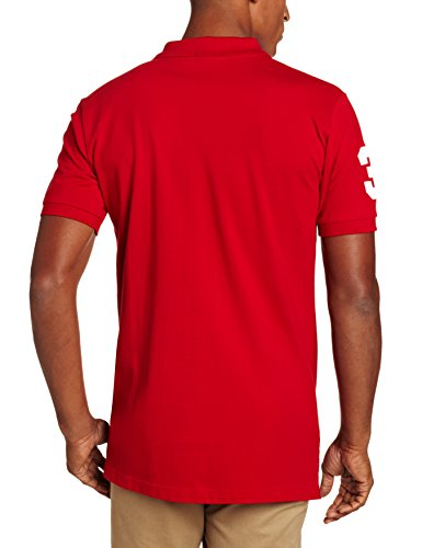 U.S. Polo Assn. Men's Solid Short Sleeve Pique Polo, Engine Red, Large