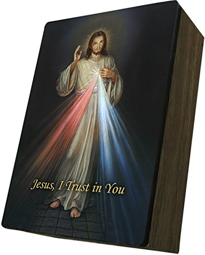 Catholic to the Max|Divine Mercy Cover, 4x6.5x2.5in Wooden Keepsake Rosary Jewelry Box, Suede Matte by Catholic to the Max
