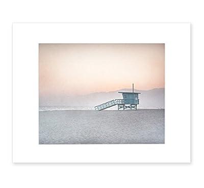 Pink Venice Beach Wall Art, California Coastal Beach Decor, 8x10 Matted Print 'Lifeguard Tower'