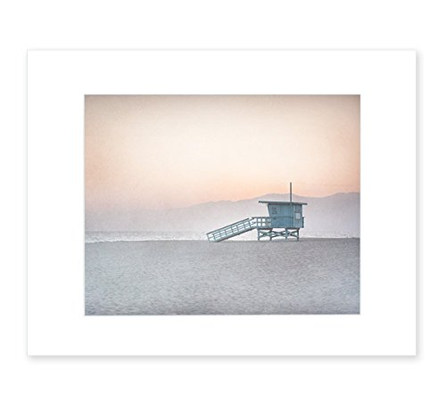 Pink Beach Art, Coastal Wall Decor, California Venice Beach Picture, 8x10 Matted Print 'Lifeguard Tower'