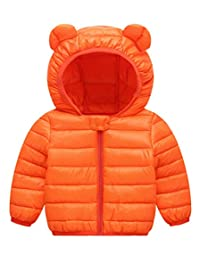 Happy Cherry Baby Boys Girls Down Cotton Coat with Bear Ear Jacket Lightweight Windproof Zip Up Hooded Coat Winter
