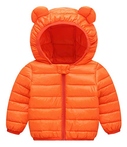 - Happy Cherry Baby Boys Girls Puff Jacket Hoodie Coat Windproof Winter Outerwear Lightweight Down Cotton Jacket Orange for 2-3Years