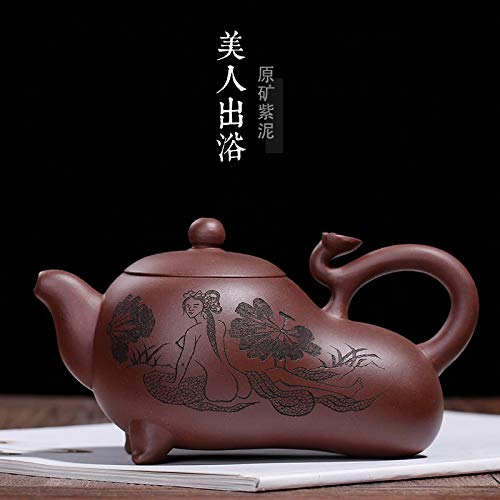 LDYGTeaService Chinese Yixing Zisha Teapot, Handmade Vintage Retro Unique Oriental Original Antique Design Raw Ore Purple Clay Ceramic Tea Pot,270Ml Gourd Shaped, Nude Pretty Carving