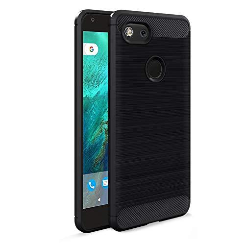 Google Pixel 3 Case, Shockproof Carbon Fiber Brushed Texture Soft Flexible TPU Full-Body Protective Anti-Slip Anti-Scratch Phone Cover Case for Google Pixel 3, Black