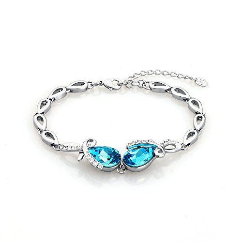 Ananth Jewels Swarovski Blue Crystal Tear Drop Fashion Jewelry Bracelet for ()