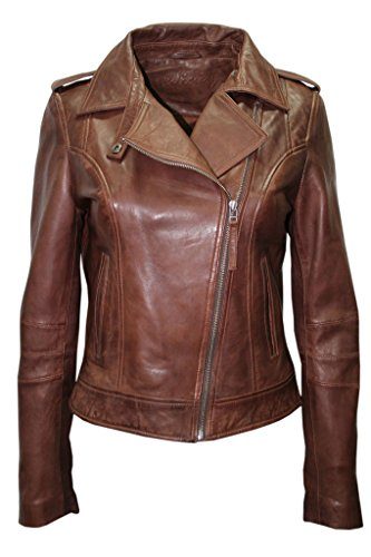 Retro Leather Collar - Ladies Casual Retro Brown Brando Soft Nappa Leather Biker Jacket 16