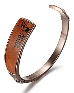WelMag Men's Pure Copper Memorial Cuff Bracelets (Metal Rock)