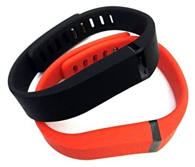 Set Large L 1pc Black 1pc Red (Tangerine) Replacement Bands with Clasps for Fitbit FLEX Only /No tracker/ Wireless Activity Bracelet Sport Wristband Fit Bit Flex Bracelet Sport Arm Band Armband by Pl