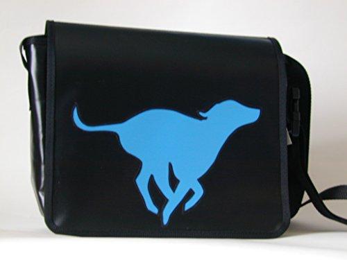 Schultertasche Hundemotiv Hellblau Viszla Sprint H 23, B 30, T 10