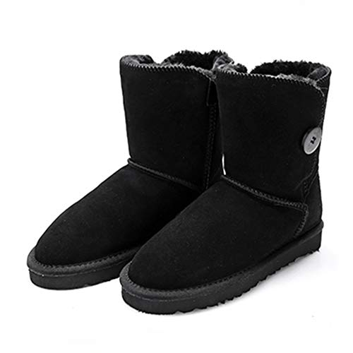 (Women's Mid-Calf Snow Boots Fashion Genuine Leather with Buckle Winter Plush Solid Flat Boots Shoes)