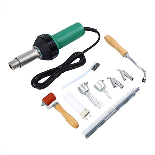 (Uttiny Heat Gun, Adajustable Power And Temperature Plastic Welder 1600W Heavy Duty Hot Air Gun Kit with Speed Nozzles Roller For Pe PVC Plastic Rod)